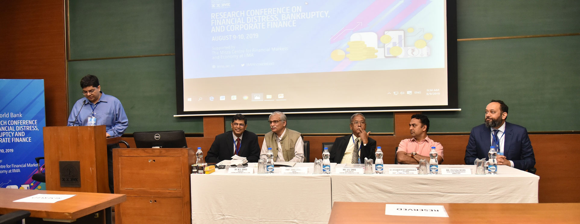 Misra Centre, IIMA and the World Bank jointly organised the conference on Financial Distress, Bankruptcy, and Corporate Finance.  Prof. Sanket Mohapatra introducing the panellists (sitting from the left): Dr. M.S. Sahoo (Chairperson, Insolvency and Bankruptcy Board of India);  Prof. Errol D'Souza (Director, IIM Ahmedabad); Mr. U.K. Sinha (Former Chairman, Securities and Exchange Board of India); Dr. Krishnamurthy Subramanian (Chief Economic Advisor, Govt. of India); Mr. Peeyush Misra (Former Partner/Managing Director, Goldman Sachs).